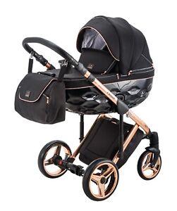 Premium Adamex Chantal Rose Gold Black Baby Pram + Rose Gold Car Seat Pushchair