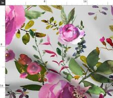 New listing Dark Pink Purple Florals Light Grey Floral Spoonflower Fabric by the Yard