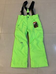 New The North Face Snowquest Suspender Ski Snow Pants Youth Green Medium 10/12