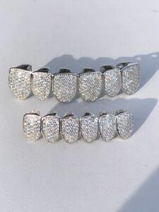 Grillz Personalizado Para Los Dientes Hip Hop De Diamantes en Plata 925 Solida