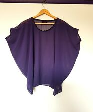 Wayne cooper womens size XS sheer purple short sleeve batwing draped top