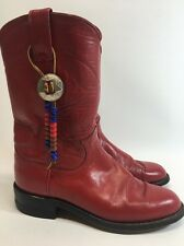 Justin Ropers Cowboy Boots Red Leather Size 5 B Women's - Removable Beaded Decor