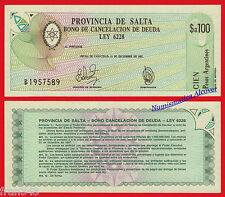 ARGENTINA PROVINCIA DE SALTA 100 Pesos 1985 1987  Pick S2602  SC / UNC