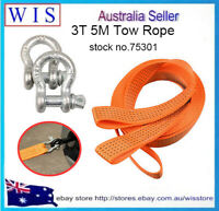 Car Trailer Rope Tow Rope Road Recovery Tow Strap w Hooks 2 Tons,5 Meters-75301