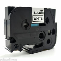 """2 x Compatible TZe 241  3/4"""" Black on White tape 18mm Brother P-Touch Printer"""