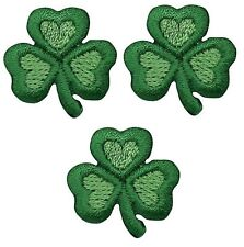 Clover Shamrock Patch Applique - Heart Design (3-Pack, Small, Iron on)