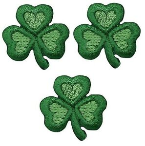 "Shamrock Applique Patch - Heart, Clover, Good Luck Badge 1"" (3-Pack, Iron on)"