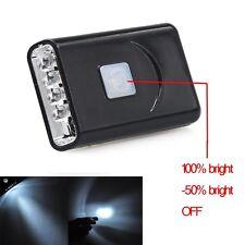 5LED USB Rechargeable  Black Bright Lightweight Sensor Hat Clip Headlight Light@