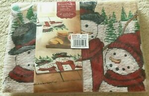 """St. Nicholas Square Yuletide Snowman Family Tapestry Table Runner 36x13"""" $24.99"""