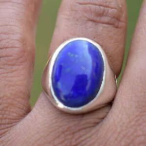 Lapis Lazuli Gemstone Solid 925 Sterling Silver Turkish Wedding Man Ring Jewelry