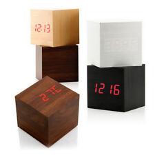 Moderne cube en bois numérique LED Bureau de contrôle vocal réveil Thermomete 6H