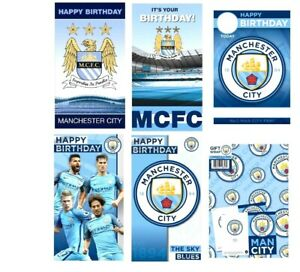 Official MANCHESTER CITY FOOTBALL CLUB Happy Birthday Greeting Card or Gift Wrap