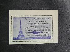 """TIMBRES DE FRANCE : VIGNETTE SANS GOMME PREMIER VOL ANGLETERRE-FRANCE """"LE NENE"""""""