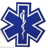 """STAR OF LIFE DECAL - EMS EMT Paramedic -  1"""" x 1"""" Highly REFLECTIVE Decal"""