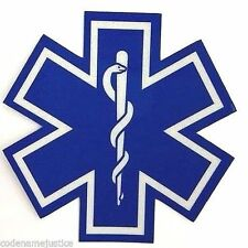 """STAR OF LIFE DECAL - EMS EMT PARAMEDIC 1"""" x 1"""" Highly REFLECTIVE Decal"""