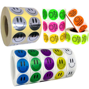 500* Smiley Face Thank You Stickers Happy Diary Reward Seal Labels Kids Toy Gift