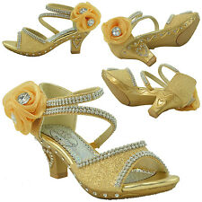 Girls High Heel Pageant Dress Sandals Rhinestone Jewel Flower Black Silver Gold