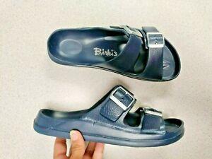 Women's Birki's Blue Rubber Slide Sandals Sz 41 = US 10