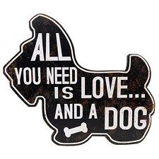 LARGE 3D METAL ART WALL PLAQUE  LOVE & DOG SCOTTIE / WESTIE DOG