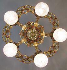 404b Vintage 20s 30 Ceiling Light aRT Nouveau Polychrome Chandelier Virden