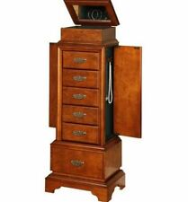 Armoire Jewelry Cabinet Box Storage Chest Stand Organizer Necklace Wood Brown