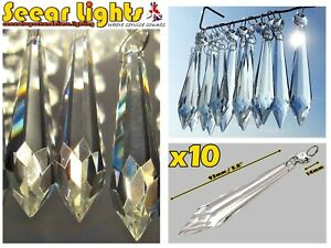 10 XXL TORPEDO 93mm CHANDELIER GLASS CRYSTALS ANTIQUE LOOK DROPS ICICLE DROPLETS