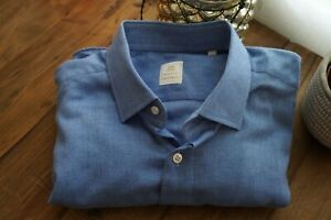 100Hands Blue Brushed Cotton Long Sleeve Shirt Sz L