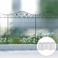 More details for outsunny garden decorative fence 4 panels 44in x 12ft steel wire border edging