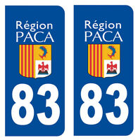 2 IMMATRICULATION VAR 83 REGION PACA TOULON DEPARTEMENT STICKER AUTOCOLLANT