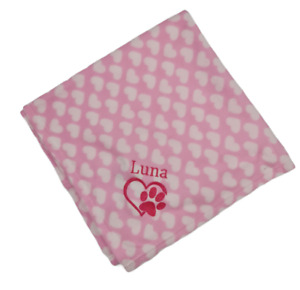 PERSONALISED DOG/PUPPY FLEECE FIRST BLANKET FOR BED HEART EMBROIDERED NEW 2021