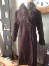 🍀TU🍀 UK 18 Dark Brown Faux Suede/furCoat With Fur Collar. Lovely, BNWT RRP £55