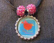 BE KIND ALWAYS Black Ribbon Bottle Cap Bling Charm Necklace Pink Beads Bird