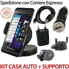 BlackBerry Z10 Kit Caricabatterie Alimentatore Casa Auto + Cavo + Supporto auto