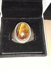 Men's 925 Silver 13 Grams Tiger Eye Ring SZ 12.5 USED