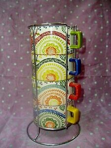 """PIER 1 IMPORTS 5~PC STACKABLE HAND~PAINTED CUP / MUG SET WITH SILVER RACK"""