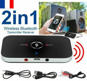 Émetteur et récepteur Bluetooth 2 en 1 Adaptateur audio sans fil Aux 3,5 mm