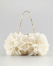 $2995 NEW JUDITH LEIBER IVORY GOLD MINAUDIERE Brooke FLORAL CLUTCH BAG Wedding