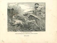 alte Grafik Druck Stich, Wild Boar Hunting Wldschwein Jagd von 1835 #E806