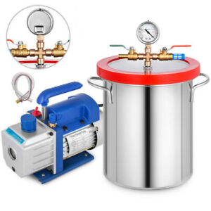 5 Gallon Vacuum Chamber and 2.5CFM Single Stage Pump Degassing Silicone Steel