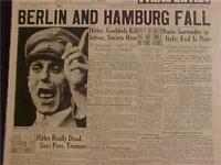 VINTAGE NEWSPAPER HEADLINE~WORLD WAR GERMAN BERLIN FALLS GOEBBELS DEAD WWII 1945