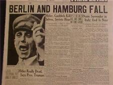 VINTAGE NEWSPAPER HEADLINE~WORLD WAR GERMAN NAZI BERLIN FALLS GOEBBELS DEAD WWII
