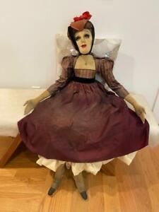 "Boudoir Art Bed Doll Vtg HUGE 50"" Cloth OOAK Gloria Swanson, Life-Size Prop Goth"