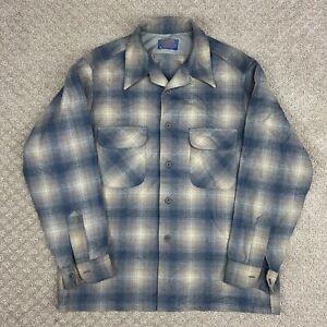 VTG 70s Pendleton Wool Board Shirt Loop Collar Flap Pocket Plaid Large