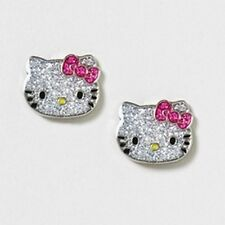 Hello Kitty Sparkle Studs Glimmer & Shine Pink Bow - NEW