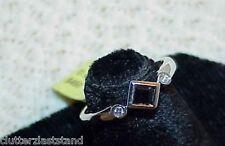 10K .30Ct  Princess Blue Sapphire Diamond Ring White Gold New w/Tag