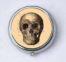 Victorian Medical drawing Skull Pill case pillbox box holder gothic anatomy