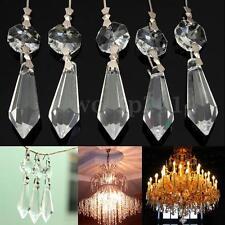 10X Chandelier Clear Glass Crystal Lamp Prism Hanging Drop Pendant Set 38mm+14mm