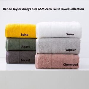 Renee Taylor Aireys 650 GSM 100% Cotton Zero Twist|Quick Dry Bath Towel|Sheet