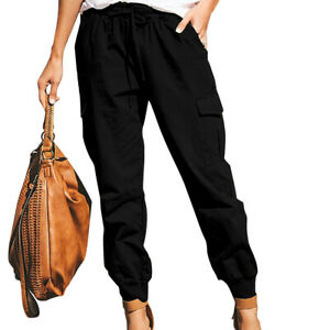 Women Comfort Combat Cargo Pants Ladies Loose Army Pockets Trousers UK Size 6-24