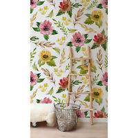 Watercolor Field Flowers Removable Vintage Botanical Decor Wallpaper wall mural